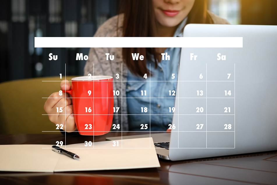 calendar with smiling person